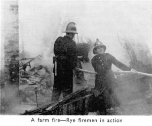 Rye Firemen at Farm Fire Leasom Lane