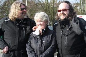 Councillor Lorna Hall with Hairy Bikers Davis Myers and Simon King