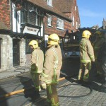 Rye Fire Brigade were on the scene at a fire in the High Street within five minutes of the call, Police were not available to direct traffic for over an hour