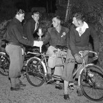 Jim Catt (right) with Jim Sergent at a change point in the epic 1946 Bonfire torch relay.
