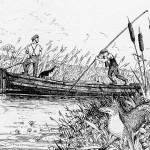 A Rye Barge navigating the Rother in the Peasmarsh area. Peasmarsh