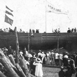 Launch of the Pentire from the Smith Yard September 1910. A photograph