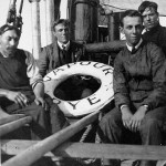 Percy W. Jempson, second left, with other shipyard workers on the