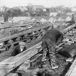 Preparing the slipways on which to build a new ship. The Rye skyline