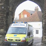 The Brand New Anbulance passing through the Landgate for the first time