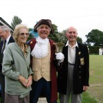 Town Crier, Rex Swain with Doris (Desdemona) and Albert Holmes, both 90 years old and still very active players for Frinton-on-Sea.
