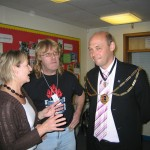 Grace O'Neill (left) of ARRC chats with the Mayor and Arrow Radio's