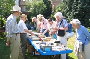 Serious buyers at the Book Stall supervised by John Kitcher and David