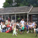 Hundreds enjoyed tea on the lawn outside the Cricket Pavilion which was the nerve centre of the event
