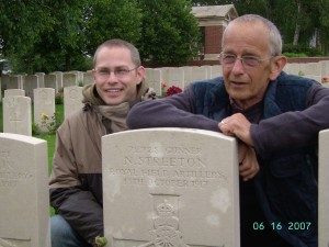 Eric and Adam Streeton find the Grave of Gunner Streeton