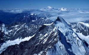 View from the summit of Matterhorn, Mont Blanc in the distance