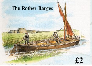 River Barge unloading for Camber Castle. Watercolour by Connie Lindqvist