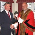 Mayor Osborne presents National Championship medal Granville Bantick