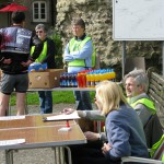 The Pevensey Castle Check point and feeding station. Manned by some of the many volunteers who made the day run smoothly for the riders.