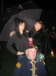 Jimper, Life President of Rye Bonfire Society with the Cheeky Girls at Icklesham Bonfire