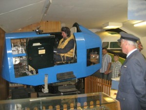Flight simulator with Wing Commander John Allen and pilot Richard