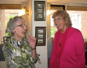 Rye's longest serving Councillor, Jo Kirkham (right) with Irene Wright
