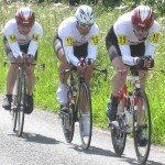 Steve Gooch, Barry Goodsel and Nick Wilson riding to tenth place