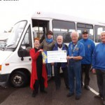 Rye & District Lions President presenting a cheque for £500 to Pat Hughes of Rye & District Community Transport