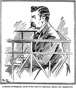 A sketch of Chapman, made at the time he appeared before the magistrate