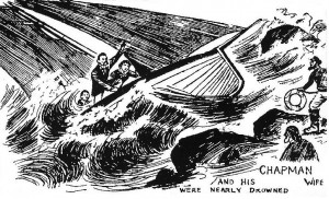 Chapman, Mary and Willie being rescued by Hastings fishermen, (Illustrated
