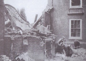 """Five months after the death of E F Benson, a German bomb destryed the Garden Room at Lamb House. Benson's grand piano can be seen amongst the wreckage. Picture from Jo Kirkham's """"Rye's War"""""""