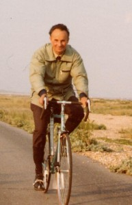 Fred Heritage cycles through Rye Harbour Nature Reserve