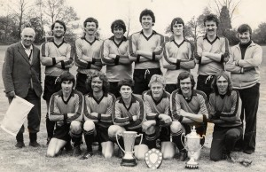 L to R: Charlie.Bull, Laurance.Easter, Chris Ashbee, Malcolm Curd, S.Rees, Terry Barham, K. Gudgeon, M. Dixon Front Row: Ged Say, Les Human, Kevin Wall, Fred Clarke, K. Hadaway and G. Weller.