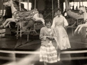 Ann Adair (left) and Sylvia Sperring at Rye Fair 1958