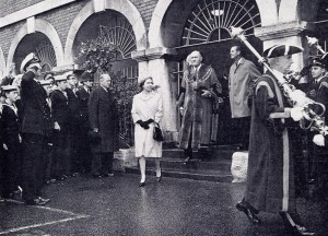 HM The Queen leaving Rye Town Hall with the Mayor of Rye, Alderman John Hacking in 1966