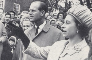 HM The Queen with Prince Phillip looking out to sea from the Memorial in Rye Church Yard