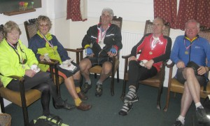 Members of the Rother Valley CTC relaxing at the Finish