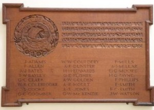 Roll of Honour 1914 - 18