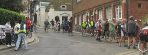 Some of the 116 Riders at the Rye Club before the Start