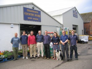 Back where they Belong The Channon Team  -  (left to right) Steve Osborne, Robert Channon, Martyn Channon, Patrick Channon, Stacey Haden, Shirley Borrer, Buffy the dog, Paul Whiteman and David Whiteman. Mark 'Slim' Shade is missing from the photograph, he was out on the lorry delivering.
