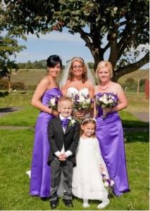 Maid of Honour Claire Bourne, Bridesmaids Sarah Devlin, Violet Stoodley, and Page Boy William Sharp