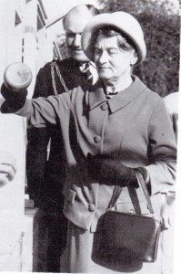 Mrs. Henry J. Wood lays the Foundation Stone for Badger Gate