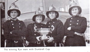 Rye Firemen with Dumbrell Cup. Bob Rogers third from Left