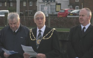 The Mayor of Rye, Sam Souster, reading the letter of condolance sent