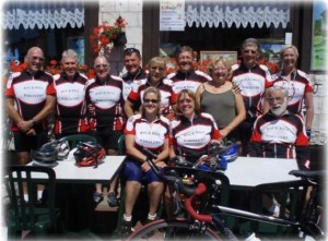 The Wheelers in Ardres with their host at the Restaurant