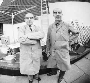 A 'fish-eye' view of Ernie and Leonard Banister outside their Cinque
