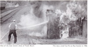 Fighting a Fire at a Railway Hut near Rye Station