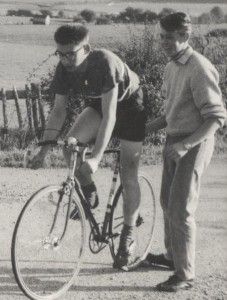 Jim Hollands being held up before his start in the Rye Wheelers Hill Climb Championship of 1957