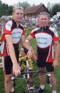 Jon Beasley and Mike Ashdown at the finish of their impressive ride