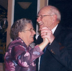 Marjorie and Roy Twine lead the dancing at the Riverhaven on the occasion of their Diamond Wedding
