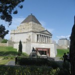 The Shrine of Remembrance on a bright sunny day.