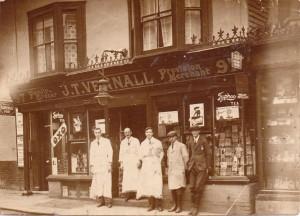 Alf (left) outside Vennalls in the High Street