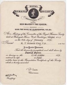 Dave Benn's Humane Society Certificate