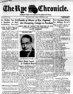 Front Page Rye New York Chronicle 1940