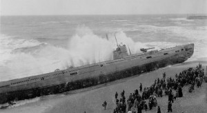 German U-Boat on Hastings Beach Photo by A.M. Breach from the Streeton Collection